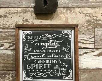 Together we are Complete, Hand-Painted Wood Sign, Valentine's Day, Wedding Gift, farmhouse sign