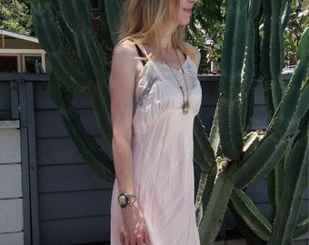 Vintage1940's satin slipdress with ivory lace Marshall Field price tag still attached