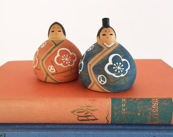 2 Vintage Miniature Wooden Kokeshi Sumo Dolls - Japanese Doll trinket toy - wood kawaii japan - sumo wrestler #0427