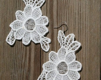Lace Earrings, White Lace Earrings, Flower Earrings, Floral Earrings, Statement Earrings