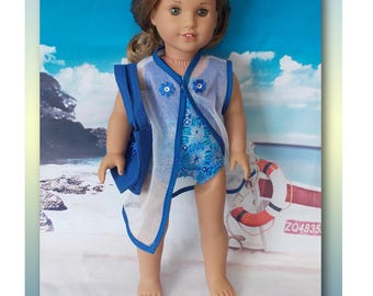 "18"" Doll Clothes. Blue Floral swimsuit, sheer cover-up & blue flower beach bag.  (Clothes only, American Girl, Lea not included)"