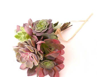 Maid of honor Aurora Bouquet: bouquet of Succulents in shades of roses, Bridal headpiece, succulents