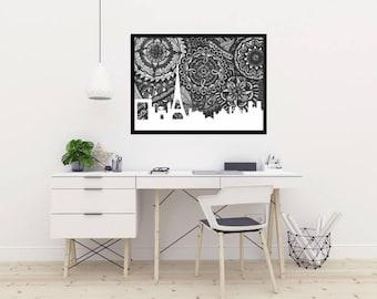 Paris Skyline, Poster, Art, Doodle, Zentangle, Print, France Illustration, Home Decore, Black and White, City Silhouette, Notre Dame, Louvre