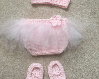 Baby diaper cover with tutu and crown
