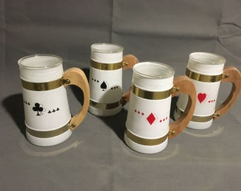 Vintage Siesta Ware Frosted Drinking Glass Mugs Card Themed Hearts Diamonds Spades Club Wooden Handles Gold Trim
