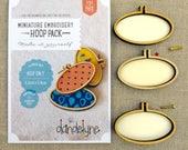 3 pack of 62 x 34 mm Oval embroidery hoops, horizontal. Dandelyne hoops. Multi buy bundle