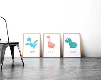 Dinosaur print set, boys nursery decor. cute dinosaur print, watercolor prints, nursery decor, printable boys gift,dinosaur artwork