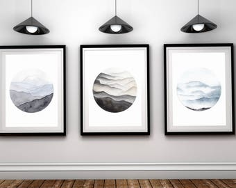 Mountains set of 3, Landscape Art,Mountain Printable, Set of three mountain prints, Nature Printable, 3 Piece Wall Art, Watercolor mountains