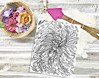 Native Fox with leaves adult coloring page-Color yourself zen!-Instant digital download-Printable coloring page designed by Lady Girvi