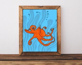 Printable Art, Octopus, Downloadable Art, Kids Decor, Childrens Decor, Home Decor, Nursery Decor, Ocean, Sea, Sea Creature, Wall Art, Poster