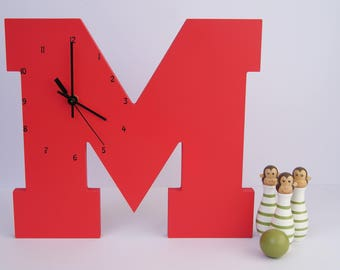 "Wooden Letter ""M"" Clock 