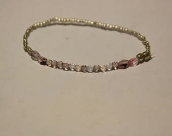 Pink, Purple, and Silver Beaded Bracelet