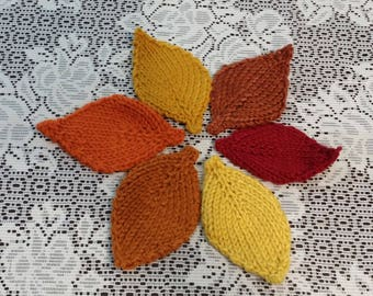 Knitted Autumn Centerpiece Leaves