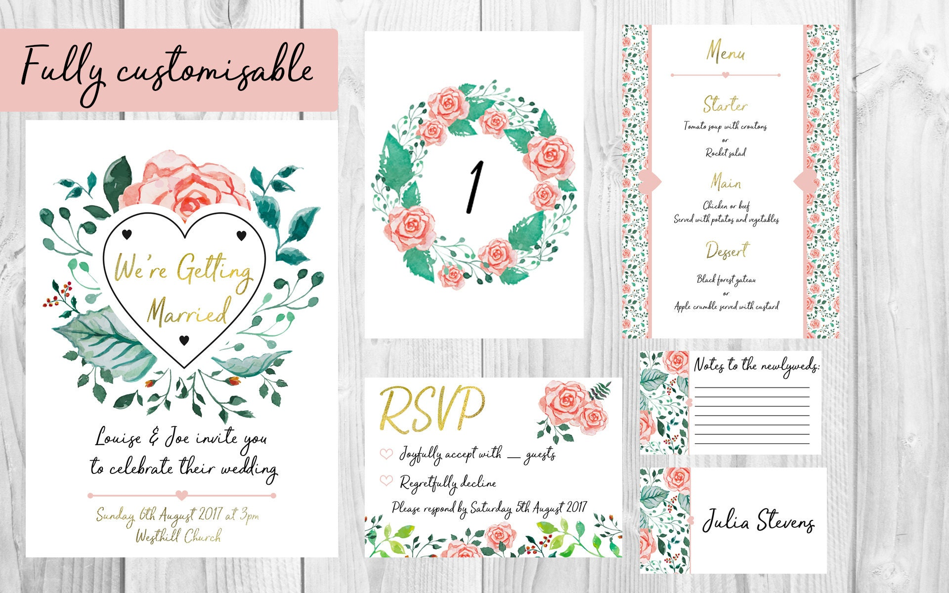 Floral Wedding Invitation Bundle | Wedding Invitations, Wedding ...