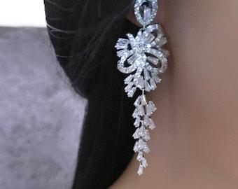Wedding Long Earrings Wedding Earrings Rhinestone Bridal Earrings Bridal Long Earrings Wedding Crystal Earrings Bridal Jewelry White Gold