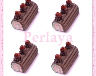Set of 3 resin cabochons log chocolate REF2090X3 2cm