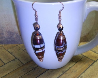 Copper Earrings With Burgundy Wine Glass Bead Handcrafted