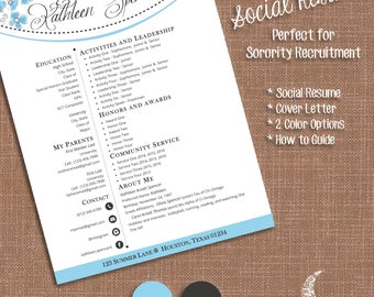 social resume cover letter templates sorority recruitment resume template ms word