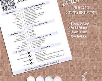 Digital Social Resume and Sorority Recruitment Packet | Resume, Cover,  Business Card