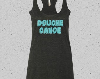 Douche Canoe Super Soft Tri-Blend Racerback Tank in Mint Print, Made-to Order