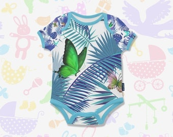 Tropical Leafs Baby Onesie Butterflys Baby Bodysuit Tropical Bodysuit Leafs Baby Bodysuit