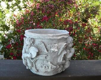 Vintage Small Concrete Roman Cherub Pot Planter Indoor Outdoor