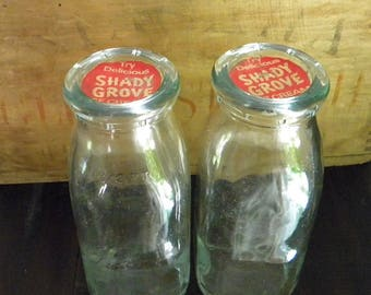 Original Vintage Shady Grove Milk Bottles With Caps From  1950s 1/2 Pint Excellent Condition Rare