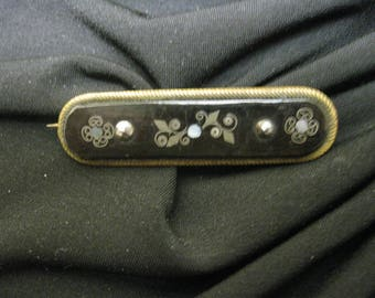 ANTIQUE Mourning Bar Brooch ~ Victorian Sentiment Brooch ~ Enamel Pearl Antique Brooch Pin ~ Victorian Bar Brooch