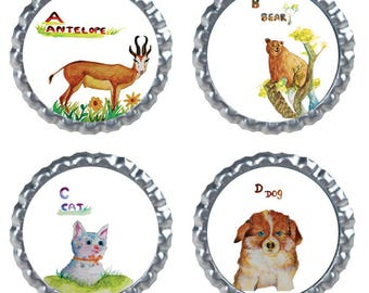 tiny sticker pack, 1 inch bottle cap images, sticker pack, collage sticker, animal stickers, animal collage, animal sticker pack