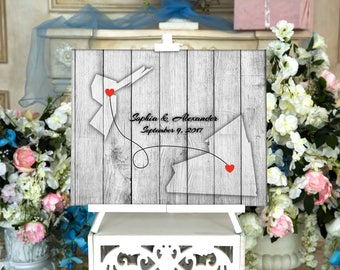 Two State Guest book CANVAS Wedding Guest Book Alternative Wedding Guestbook Personalized Wedding map sign STATE WEDDING Guestbook