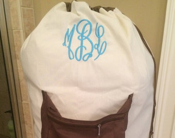 Personalized Laundry Bag/ College Laundry bag/ Monogrammed Laundry Bag/Large laundry bag with pocket/graduation gift