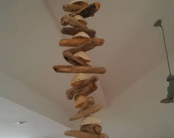 Driftwood and shell garland
