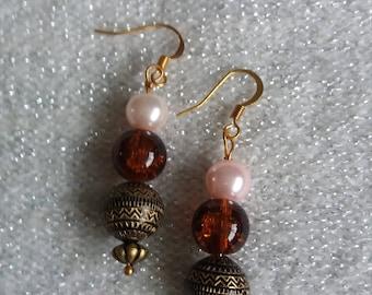 Brown glass n pearl effect
