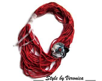 Denim jewelry Denim necklace T-shirt necklace Jeans necklace Bib Statement Denim accesories Chunky flower necklace T-shirt accessories denim