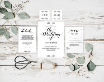 Wedding Invitation, Printable Wedding, Invitation Template, Invitation Set, Wedding Stationery, RSVP Template, RSVP Cards, DIY, BD6039