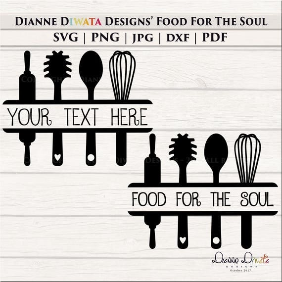 Kitchen Utensil Svg Kitchen Clipart Personalized Wall Decal