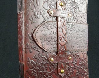 Large Handmade Leather Journal - Hand-Tooled Floral Design - with Dual Paper