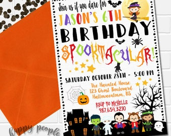 Halloween Birthday Invitation Kids Halloween Party Invitation Spooktacular Invitation Halloween Theme Party Invite Halloween Invitation Kids