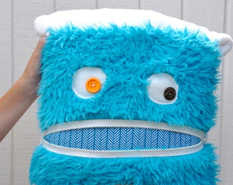 Turquoise Monster Pillow & Blanket