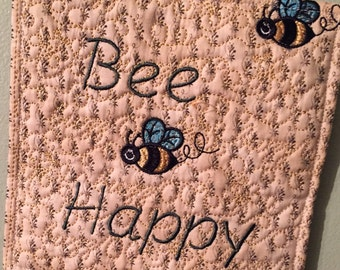Bee Happy Pot Holder, Handmade, One of a kind, make great gifts for birthdays, girl friends, showers, weddings, mother's day.