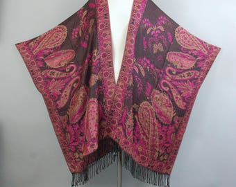 Red and Pink paisley Brocade Pashmina fringe handmade kimono jacket One SIze fits all