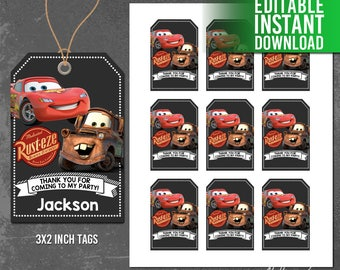 Disney Cars Thank You Tags, Disney Cars Favor Tags, CARS Printables, Disney Cars Birthday Party, Editable PDF, Instant Download