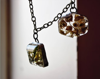 Italian Chamomile Flowers and Moss cast in resin - double pendant necklace