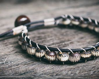Men's Leather Wrap Bracelet Bone Beaded Bracelets for Men Black Leather Wrap Bracelets Mens Beaded Wrap Bracelets Single Wrap Bracelets