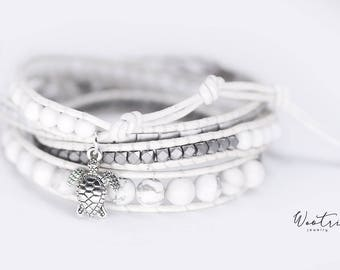 Beaded Leather Wrap Bracelet for Women White Leather Bracelet Hematite Bracelet Howlite Womens Bracelet Leather Wrap Boho Gemstone Bracelet