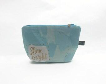 Hard case / Pastel / stars / gold / / make-up bag / / pouch brilliant Shine Bright / / bag fashion accessory