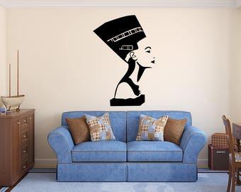 Egyptian Wall Decal - Queen Nefertiti Wall Art - Ancient Egyptian Wall Decal - Interior Wall Art Bedroom Living Room Home Vinyl Wall Decal