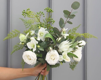 Artificial flowers wedding home decoration green and white