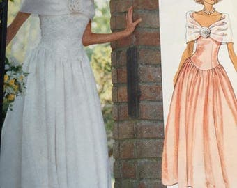 Vogue 2425 Bridal Gown/Bridesmaid's Dress Pattern, Size 12-14-16, 1990s Bridal Gown Sewing Pattern