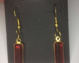 Vintage Red Rectangle Gem Earrings
